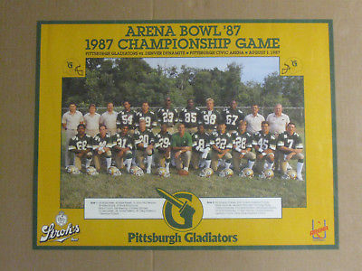 Vintage 1987 Pittsburgh Gladiators Arena Bowl Championship Game Poster Stroh's