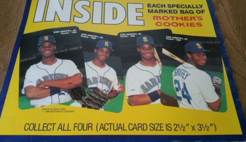 Ken griffey jr rookie cards Mothers Cookies 1989 advertisement