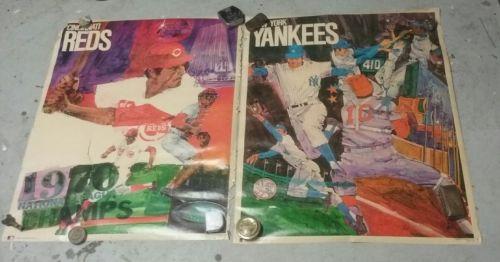 Cincinnati Reds MLB baseball 1971 Promotions 23x29.5 poster new York Yankees lot
