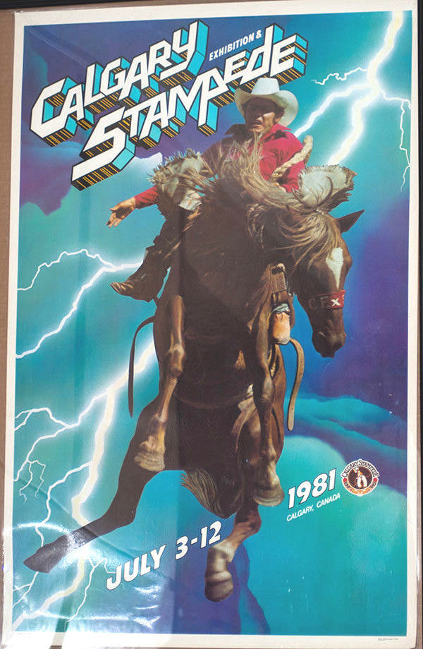 RODEO POSTER - 1981 Calgary Stampede Rodeo , Laminated - AUTOGRAPHED
