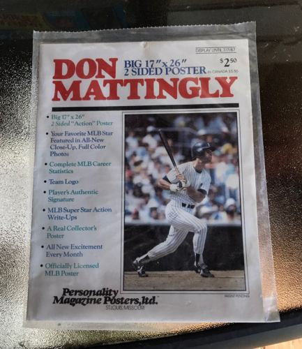 VINTAGE - DON MATTINGLY POSTER - NEW YORK YANKEES - Sealed New