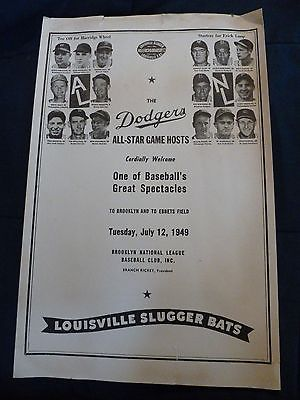 1949 Dodgers Hosts AL / NL All Stars Game Poster Louisville Slugger Bats