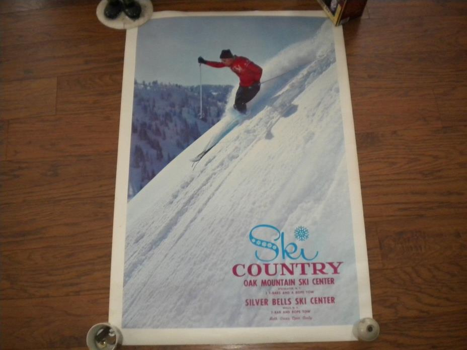 Vintage Ski Center Poster New York Oak Mountain Speculator Silver Bells Wells NY