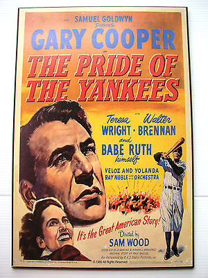VTG The Pride of the Yankees Baseball Babe Ruth Gary Cooper Poster Wood reprint