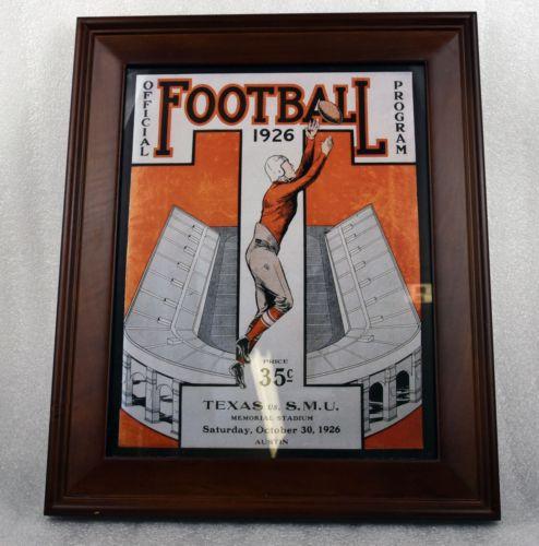 Texas Longhorns vs SMU Mustangs Football Program Reprint - Framed 10/30/1926