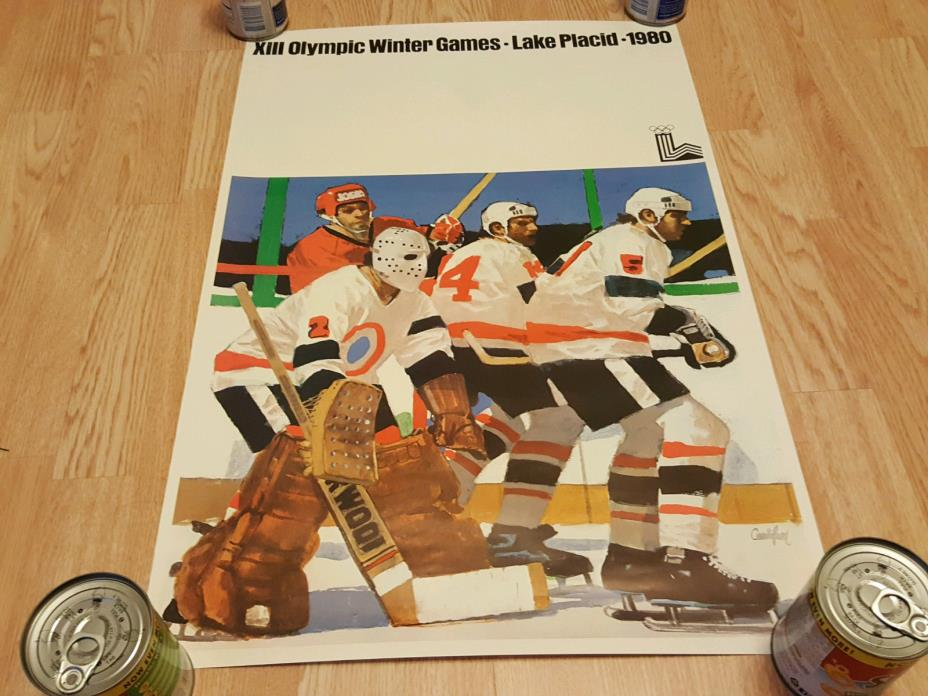 XIII Olympic Winter Games Lake Placid 1980 Hockey 30 x 20 Poster Miracle on Ice
