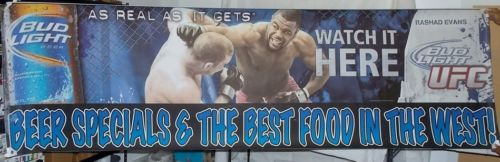 Rashad Evans Ultimate Fighting Championship UFC BUD Light Vinyl Banner Sign 10'