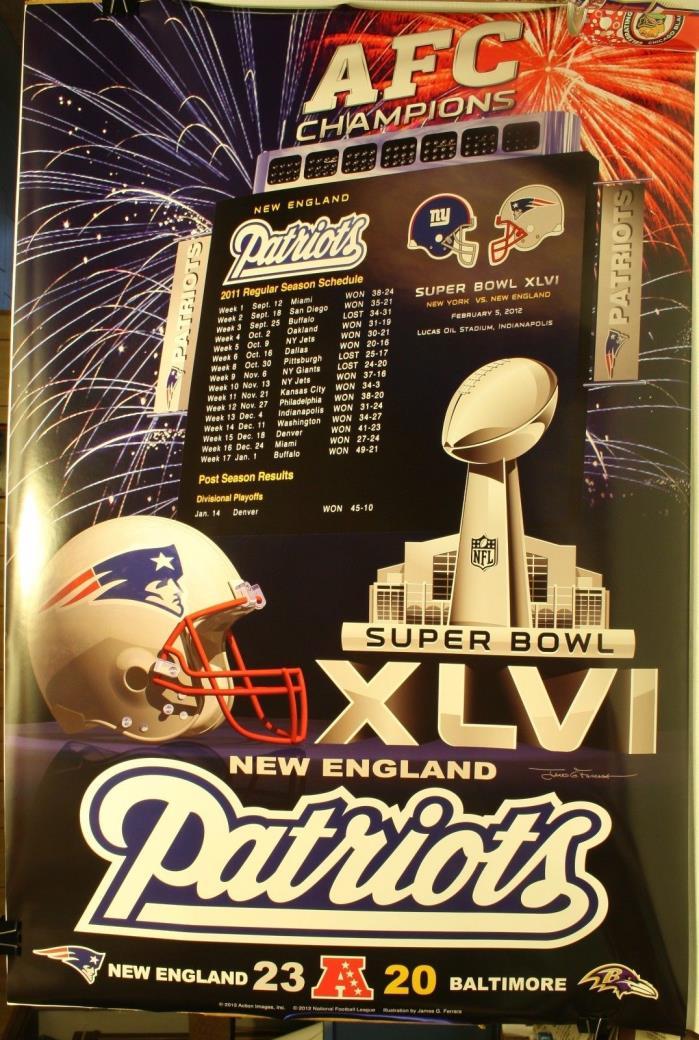 Super Bowl XLVI New England Patriots AFC Champions 36 x 24
