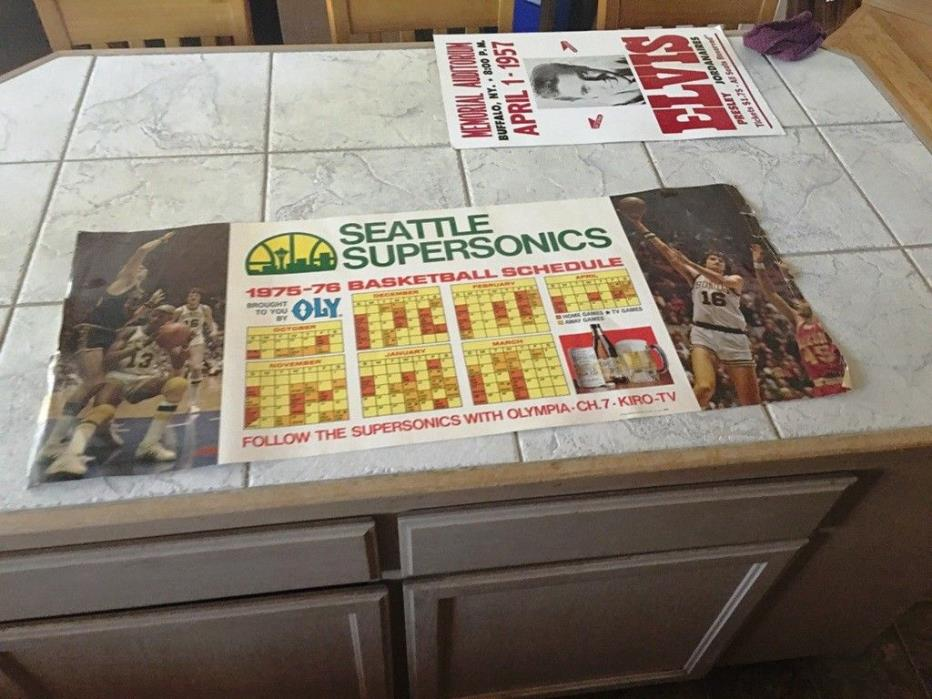 VINTAGE 1975-76 SEATTLE SUPERSONICS BASKETBALL SCHEDULE POSTER 16X38 OLY RARE