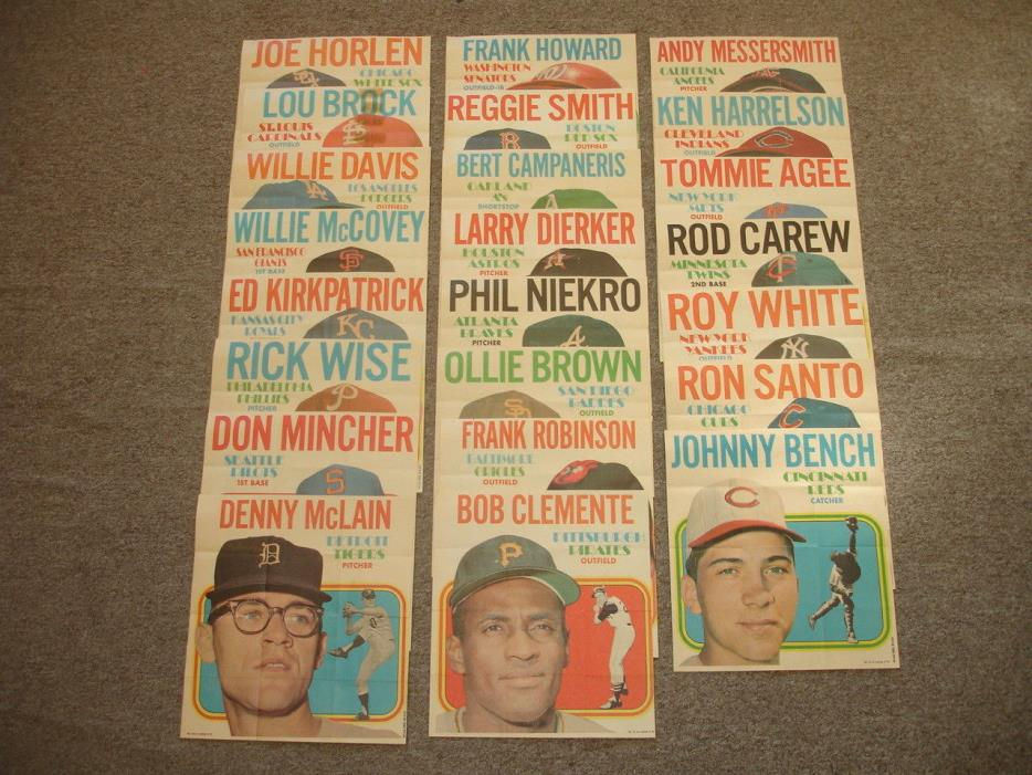 1970 Topps Baseball Player Posters Complete Set of 24 w/ Clemente Bench Carew