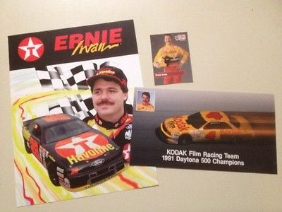 Lot of Ernie Irvin Kodak and Texaco Promo Pictures and Pro Set Trading Card
