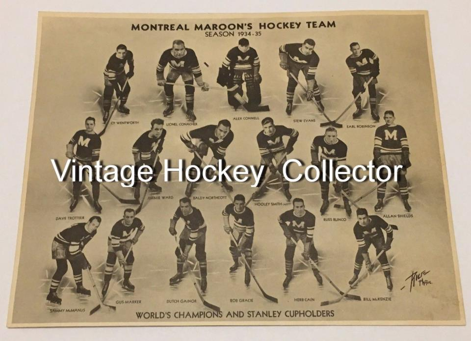 1934-35 Montreal Maroons Team Issue Print Vintage Hockey Photo Rare NHL Premium