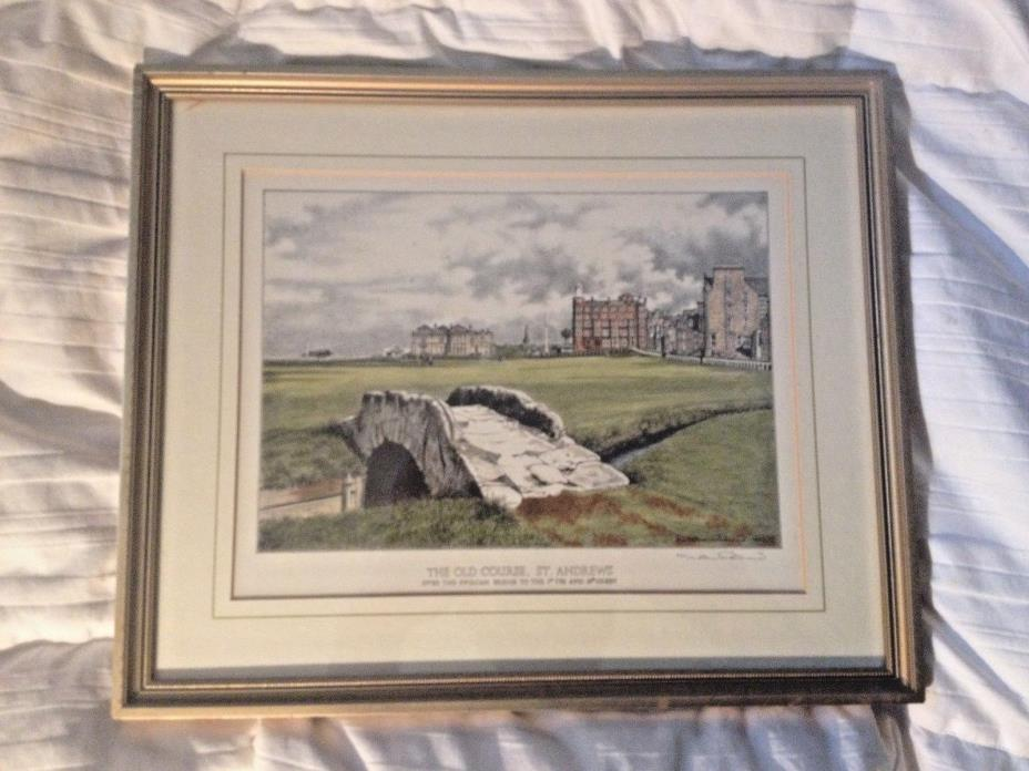 2 ART PRINT JOHN MORLAND THE OLD COURSE ST ANDREWS TURNBERRY GOLF COURSE FRAMED