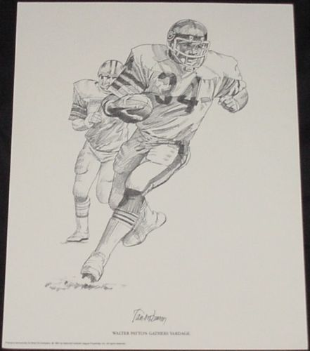 4 Prints 1981 NFL Stars W.Payton,B.Barnes,A.Griffin,& D.Logan From Shell Oil Co.