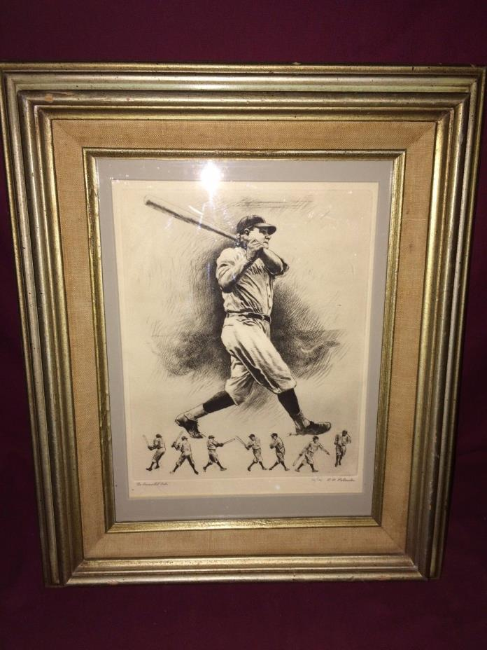 Vintage The Immortal Babe Ruth Print by R.H. Palenske  Matted & Framed 16.5x13