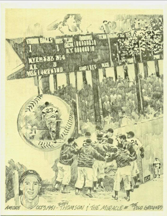 JIM AMORE PENCIL SKETCH PRINT BOBBY THOMSON HOME RUN MIRACLE at the POLO GROUNDS