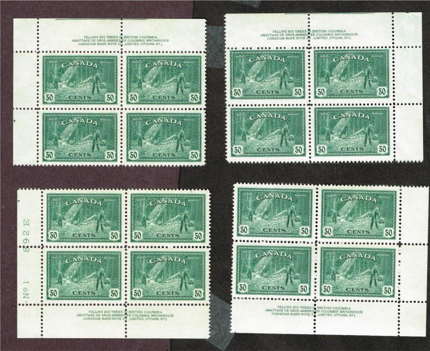 CANADA 272 PLATE BLOCKS VF MLH + MOSTLY MNH (JNY11