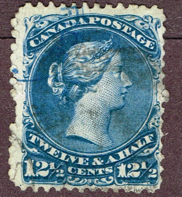 CANADA LARGE QUEEN #28 FINE BLUE REVENUE CANCEL (ULY4
