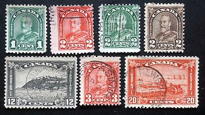 CANADA Sc# 163-167   174-175 KING GEORGE V ARCH SERIES Set of 7 1930-31  USED