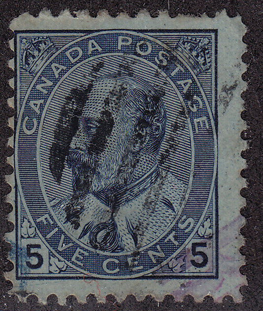 CANADA Used Scott # 91 King Edward VII - remnant, pencil # (1 Stamp) -17