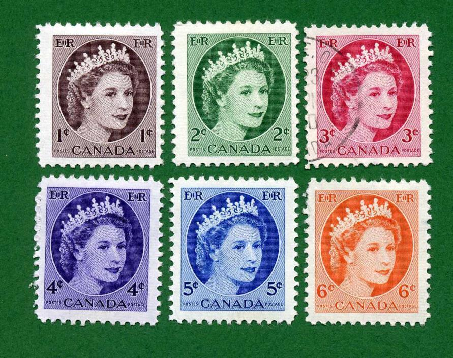 Canada 6 Stamps, Sc 337 - 342, QEII, 1954 - 61, UPH/MPH