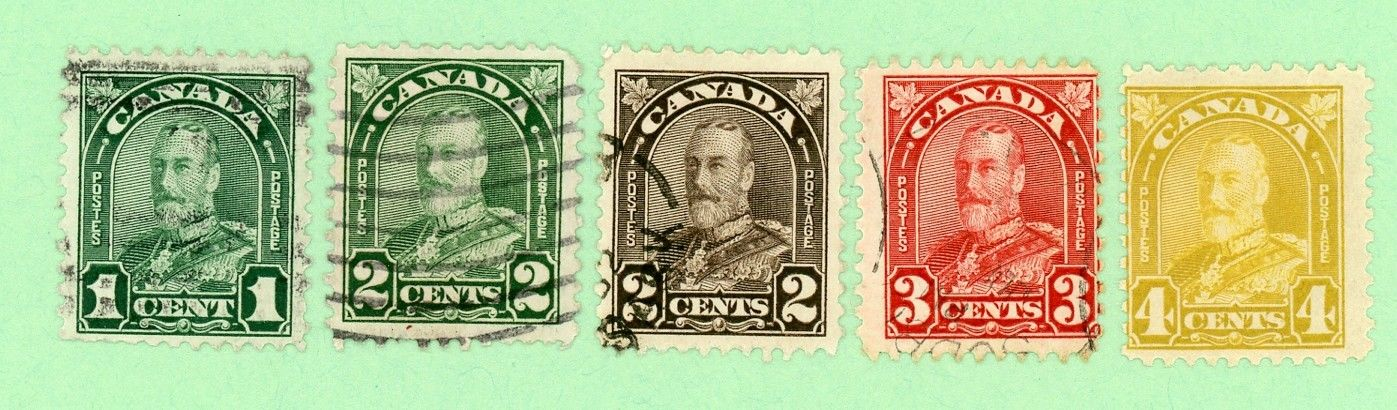 Canada 5 stamps, Sc 163 - 164, 166 - 168, KGV Arch Issue, 1930, 168 MPH, +4 used
