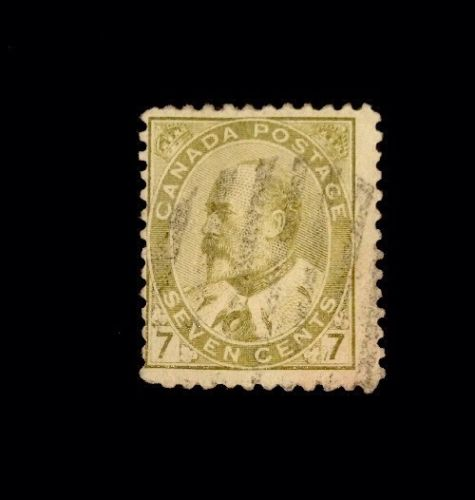 110 Year Old Canada King Edward VII Stamp 92! 7c Olive Bister, used