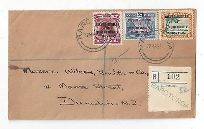 Cook Islands 1936 Registered Cover to New Zealand, Jubilee Set