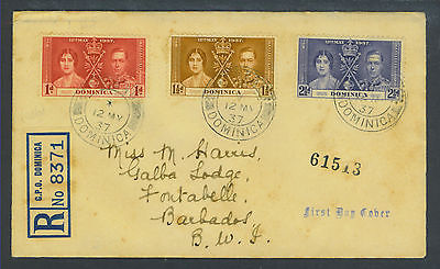 DOMINICA- RARE!!! FDC WITH RARE DOUBLE CANCEL TIED TO REGISTERED COVER (SET)
