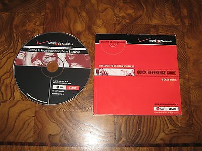 Verizon Wireless Quick Reference Guide LG VS8300 – Booklet and DVD – new