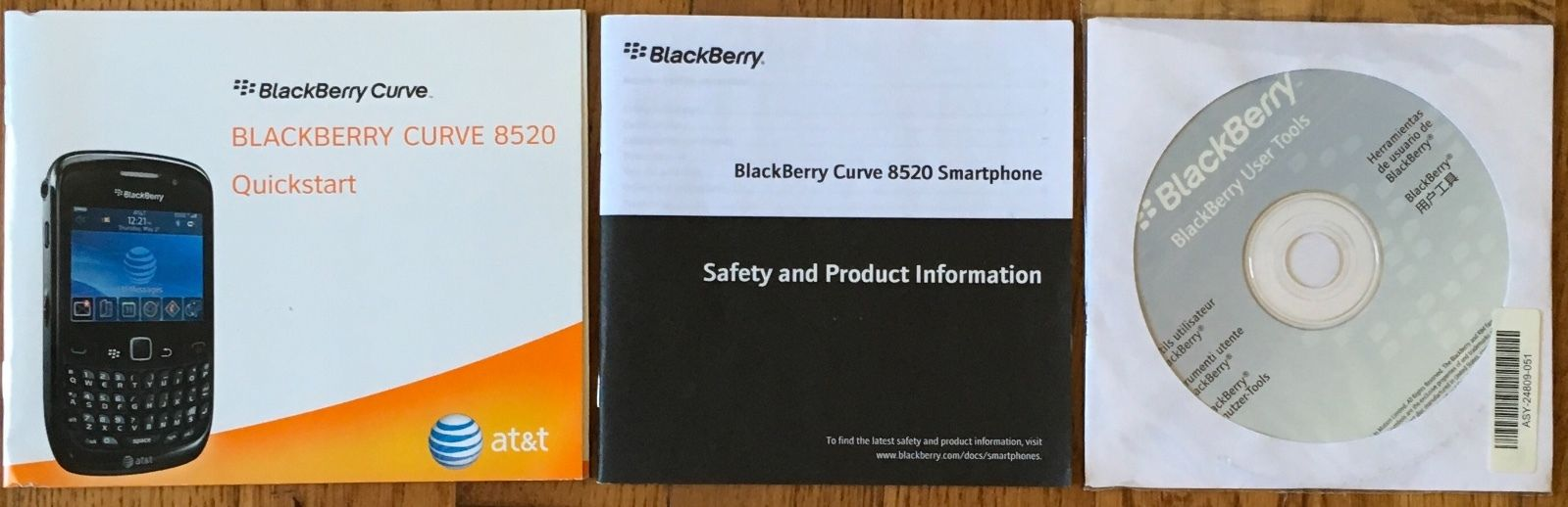Blackberry Curve 8520 User Guide Quick Start Tools Software Disc Unopened