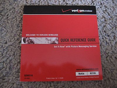 Verizon/Nokia, 6215i, QUICK REFERENCE GUIDE - Manual, Version 1.0, JUNE 06