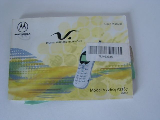 User Manual ONLY for - Motorola Digital Wireless Telephone Model V2260 / V2267