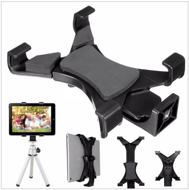 Universal Tablet Tripod Mount Adapter Clamp Holder for Android and Apple Ipads