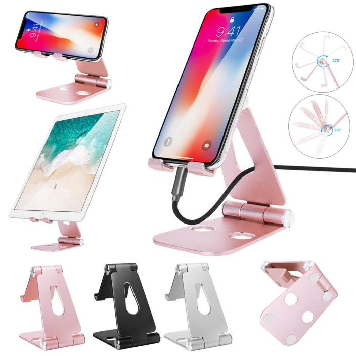 Foldable Aluminum Desktop Stand Holder Mount For iPhone Samsung iPad Tablet GPS