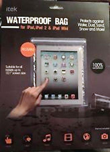itek Waterproof Bag For iPad, iPad 2, And iPad Mini Clear NEW