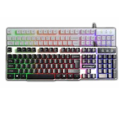 USB Wired Illuminated Colorful LED Backlight Multimedia PC Gaming Keyboard For M