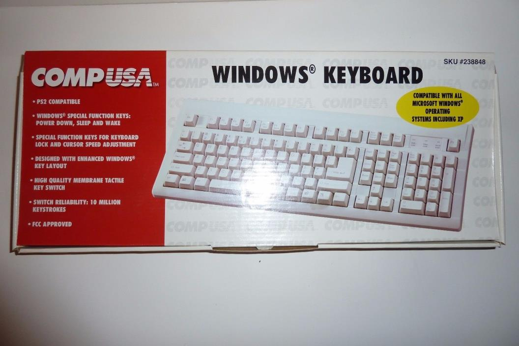 Windows Keyboard CompUSA PS2 Compatable Windows XP NEW in Box
