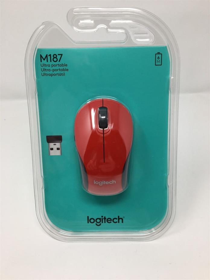Red Logitech M187 Wireless Mini Mouse Brand New