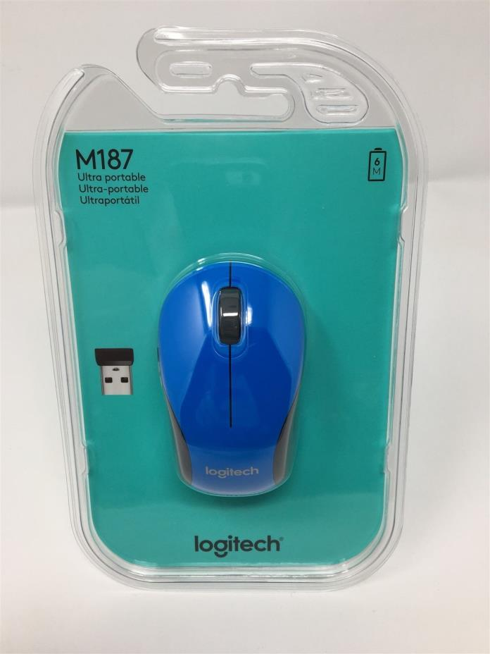 Blue Logitech M187 Wireless Mini Mouse Brand New