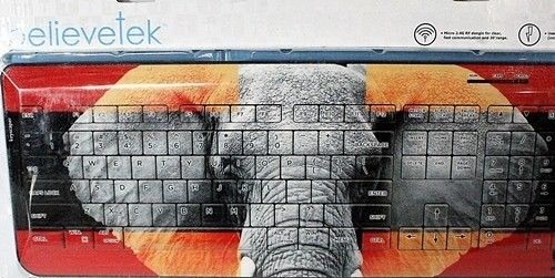 Believetek Wireless Keyboard, Elephant Face Background, Brand New~!
