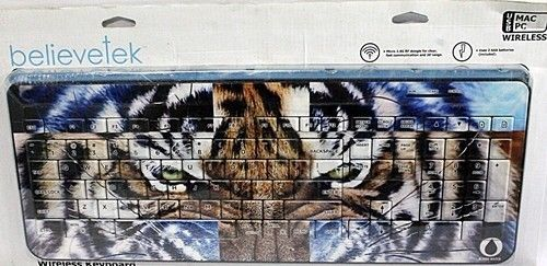 Believetek Wireless Keyboard, Tiger Face Background, Brand New~!