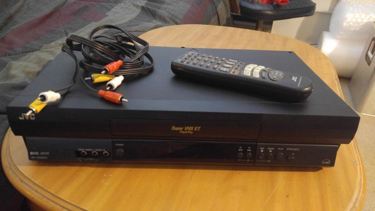 Nice Vintage Working Black VHS JVC HR-S2901U S-VHS VCR Player W/ Remote & Cables
