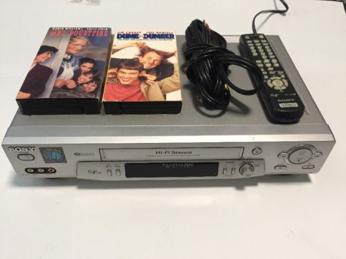 Sony SLV-N81 VHS Player Hi-Fi Stereo VCR Plus W/Remote and Two Tapes.
