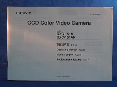 Sony CCD Video Camera DXC 151A Instructions Manual dq