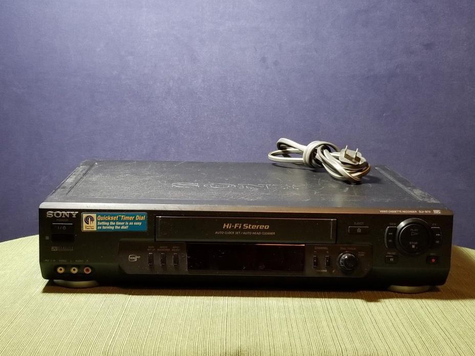 Sony VHS Auto Clock Set Auto Head Cleaner Black SLV-N70 VCR
