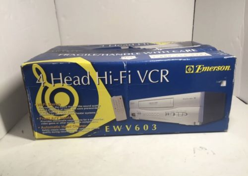 Emerson 4 Head Hi-Fi VCR EWV603 Still in Box VHS player Remote and Cables