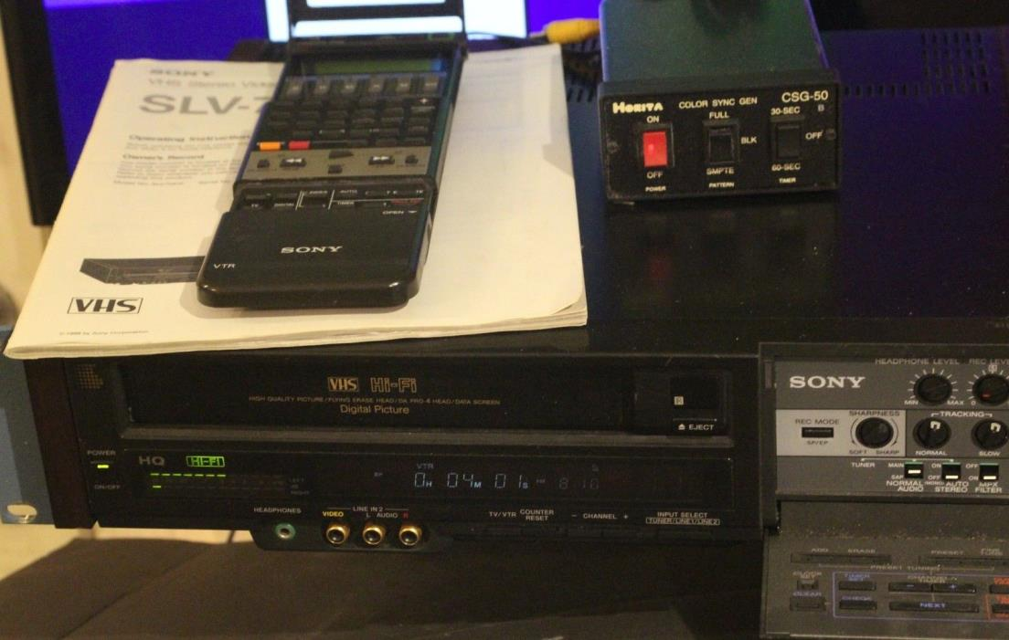 RARE 1989 SONY SLV-70HF VHS EDITING PAIR WITH REMOTE AND MANUAL FULLY TESTED OK