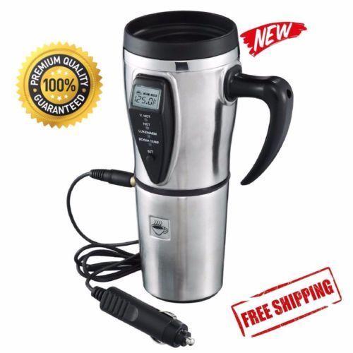 Coffee Cup Car Travel Automobile 12V Digital Heated Smart Mug Stainless Winter