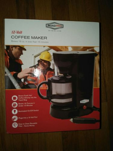 RoadPro 12-Volt Coffee Maker Brews 16 ounces in 15 minutes in Stainless Mug New
